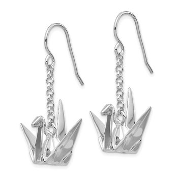 Sterling Silver Rhodium-plated Origami Crane Dangle Earrings