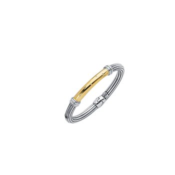 Silver & 18K .05ct. Dia Italian Cable Bangle