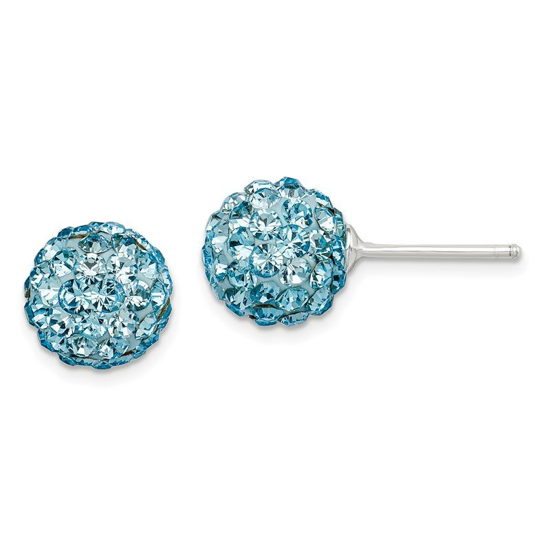 Quality Gold Sterling Silver Aqua Stellux Crystal Earrings
