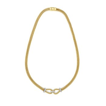 14K Gold .36ct. Dia Popcorn Necklace