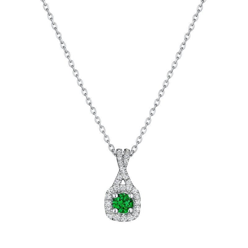 Truly Enamored Emerald and Diamond Criss Cross Pendant