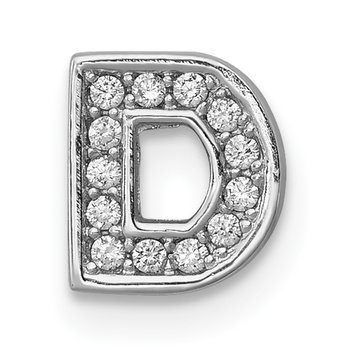 Sterling Silver Rhodium-plated CZ Letter D Initial Slide Charm