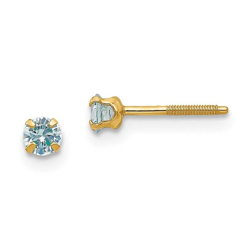 Quality Gold 14k Madi K 3mm Synthetic Birthstone Earrings