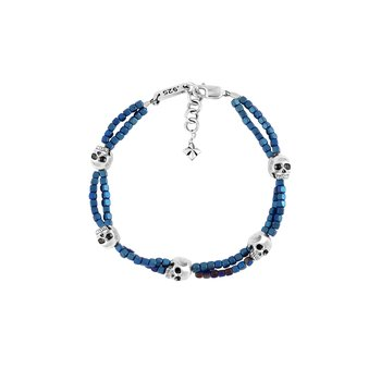 Blue Square Hematite Double Strand Bracelet With Skulls