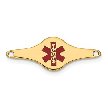 14k Red Enamel Medical Jewelry ID Plate