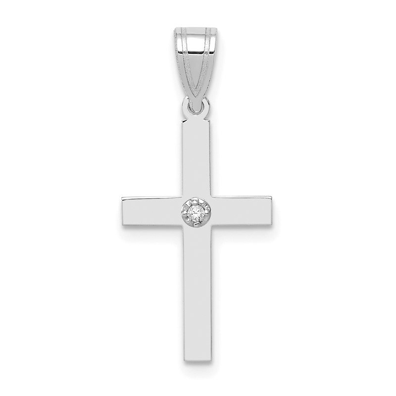 Quality Gold 14k White Gold .01ct. Diamond Cross Pendant