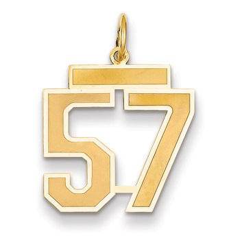 14k Medium Satin Number 57 Charm