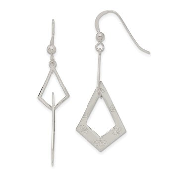 Sterling Silver Polished Kite-shaped w/Flowers Dangle Earrings