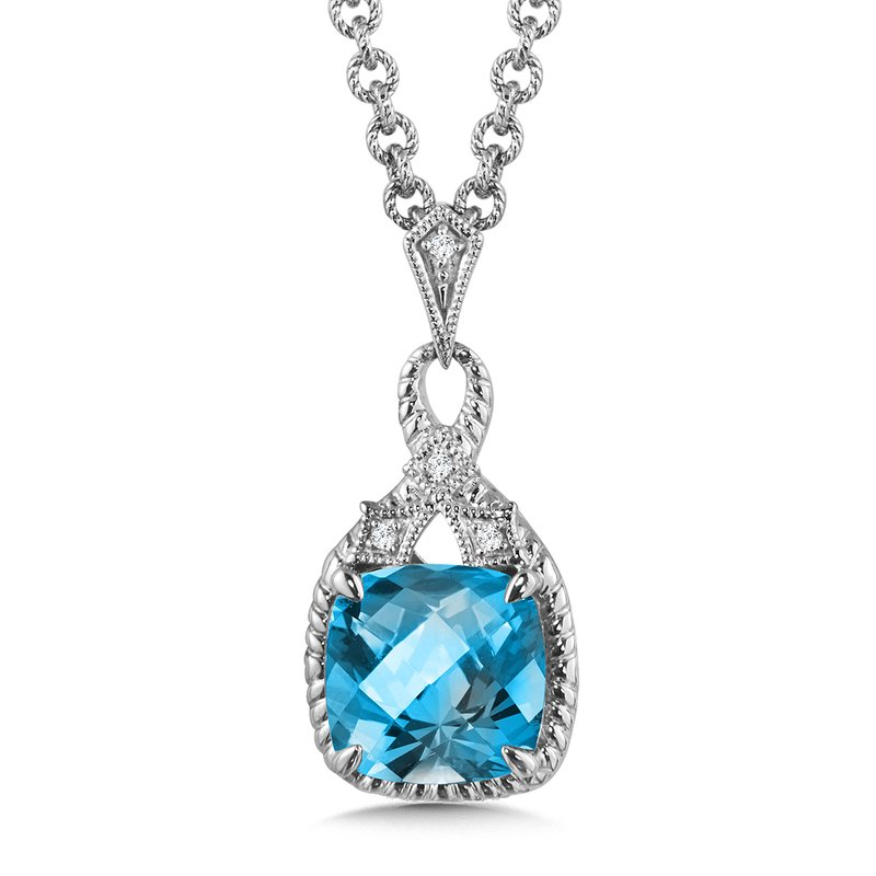 Sterling Silver Blue Topaz & Diamond Pendant