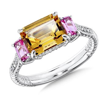 Sterling Silver, citrine and created pink sapphire diamond ring