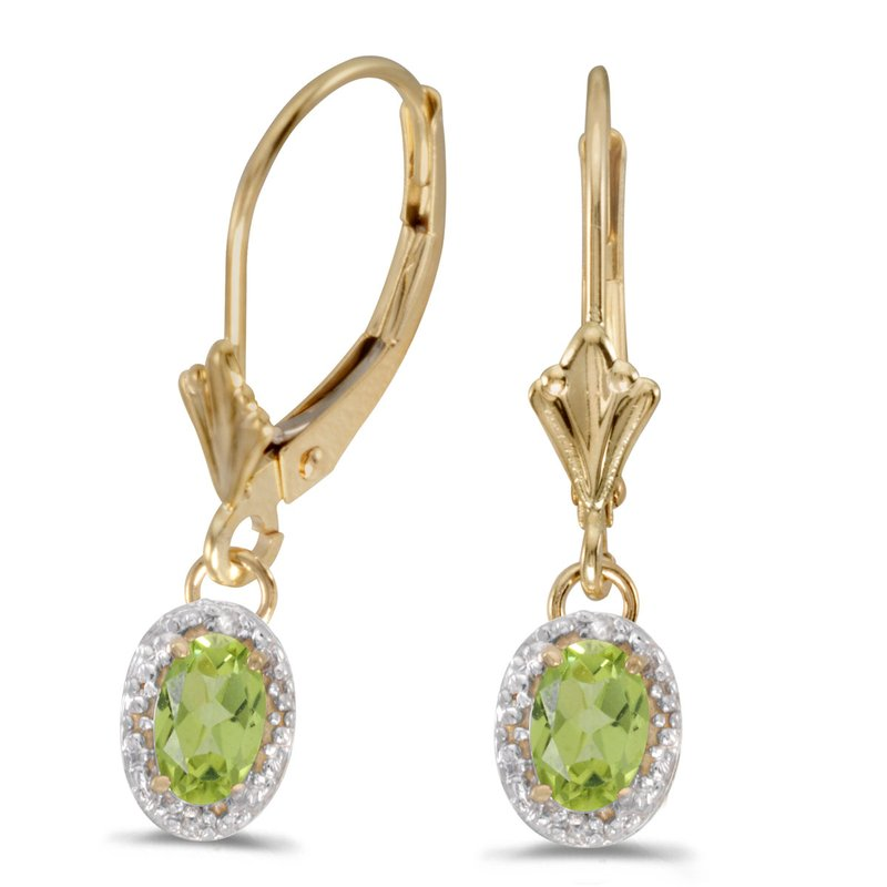 Color Merchants 14k Yellow Gold Oval Peridot And Diamond Leverback Earrings