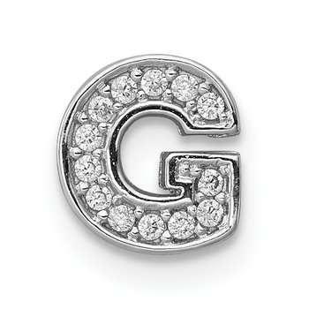 Sterling Silver Rhodium-plated CZ Letter G Initial Slide Charm