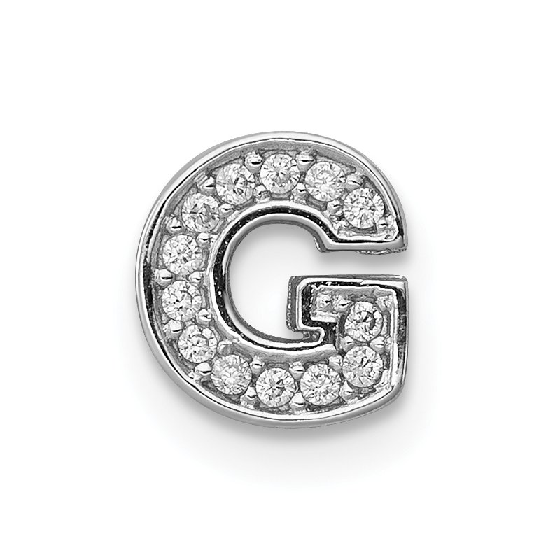Quality Gold Sterling Silver Rhodium-plated CZ Letter G Initial Slide Charm