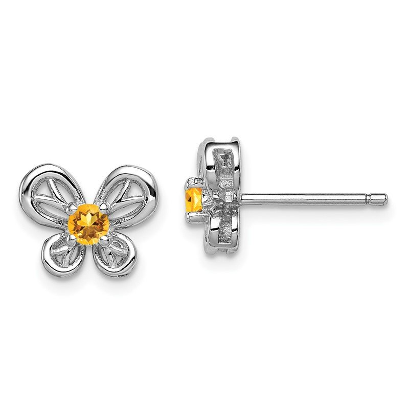 Quality Gold Sterling Silver Rhodium-plated Citrine Earrings