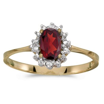 14k Yellow Gold Oval Garnet And Diamond Ring