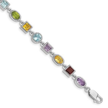 Sterling Silver 7inch Rhod Plated Rainbow Multi-gemstone Bracelet