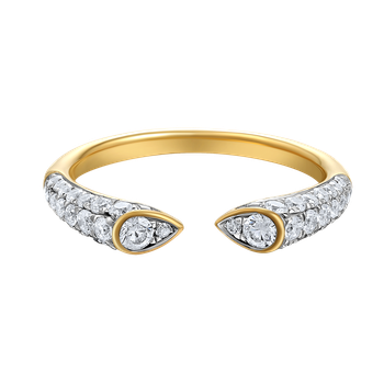 14K open design ring 46 diamonds 0.62ct