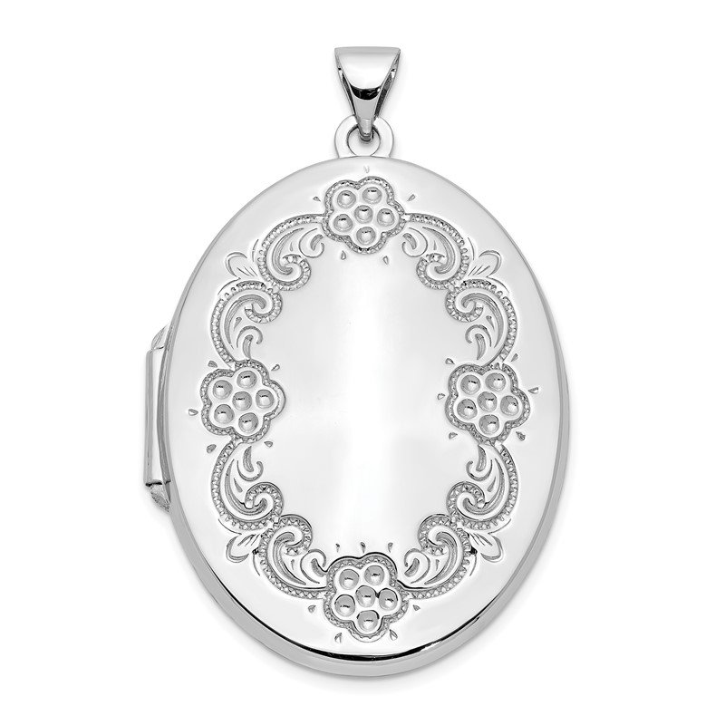 Quality Gold 14k White Gold Floral Oval Locket