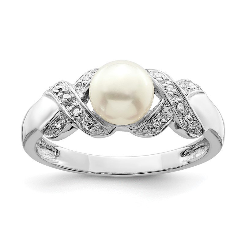 Quality Gold Sterling Silver Rhodium 6mm FW Cultured Button Pearl Ring