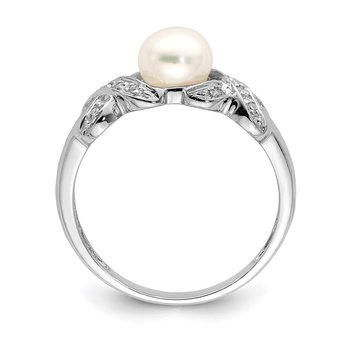 Sterling Silver Rhodium 6mm FW Cultured Button Pearl Ring