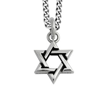 Large Star Of David Pendant On Curb Link Chain