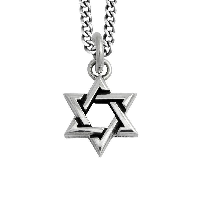 King Baby Large Star Of David Pendant On Curb Link Chain