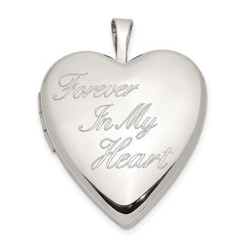 Sterling Silver 20mm FOREVER IN MY HEART Heart Locket