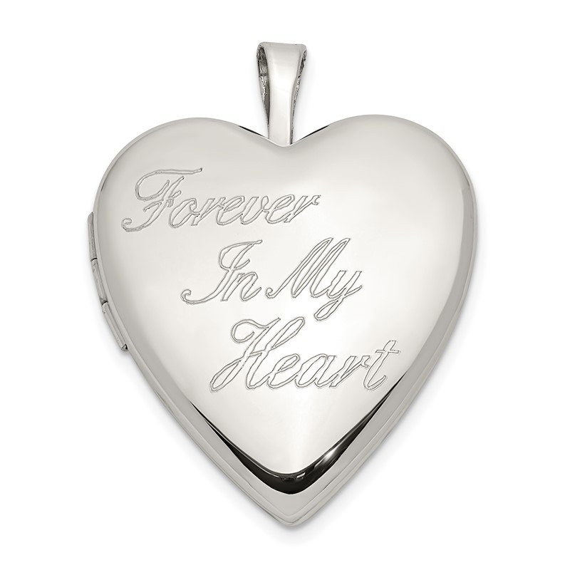 Quality Gold Sterling Silver 20mm FOREVER IN MY HEART Heart Locket