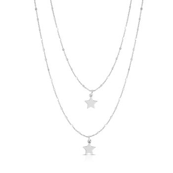Silver Double Layer Star Drop Necklace