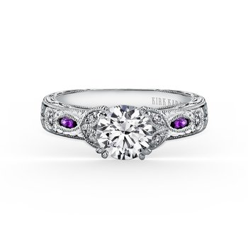 Amethyst Floral Diamond Engagement Ring