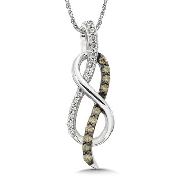 Pave set Cognac and White Love Knot Pendant, 10k White Gold  (1/4ct. dtw.)