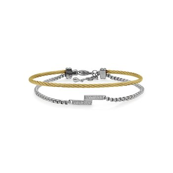 Grey Chain & Yellow Cable Intermix Bracelet with 14kt White Gold & Diamonds