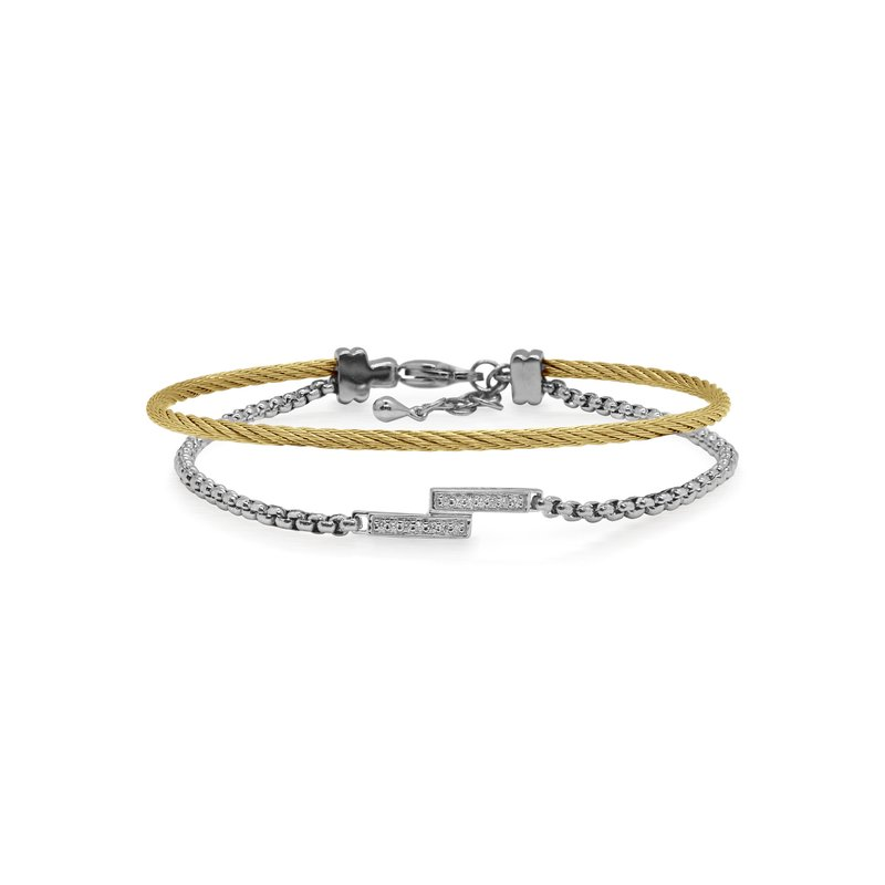 ALOR Grey Chain & Yellow Cable Intermix Bracelet with 14kt White Gold & Diamonds