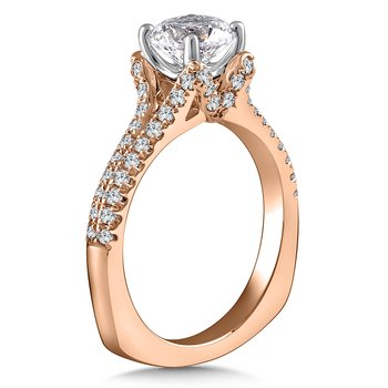 Diamond Engagement Ring Mounting in 14K Rose Gold with Platinum Head (.46 ct. tw.)