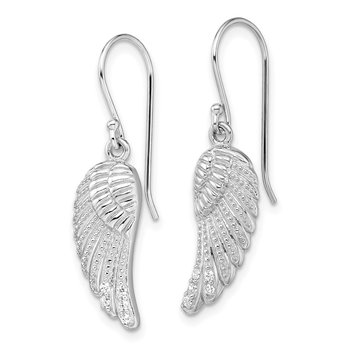 Sterling Silver Rhodium-plated w/CZ Wings Shepherd Hook Earrings