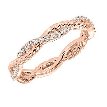 14K Rose Gold Rope Diamond Wedding Band