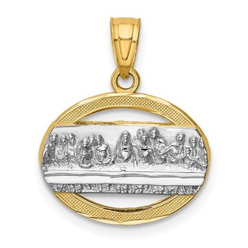 14K w/Rhodium The Last Supper Pendant