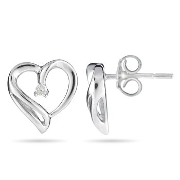 925 Sterling Silver and Diamond Solitaire Heart Earrin
