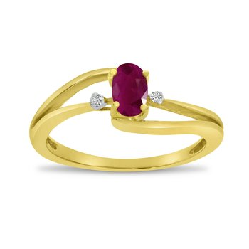 10k Yellow Gold Oval Ruby And Diamond Wave Ring