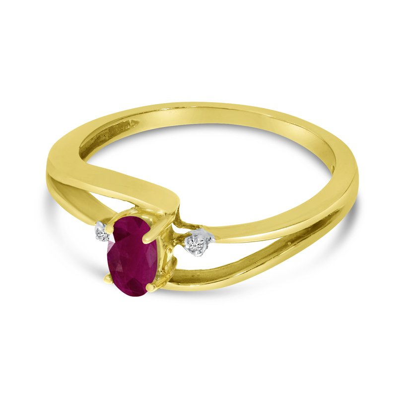 Color Merchants 10k Yellow Gold Oval Ruby And Diamond Wave Ring