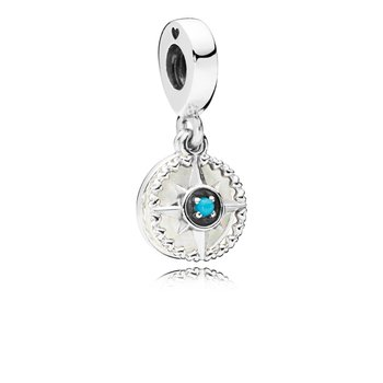 Compass Rose Dangle Charm, Silver Enamel Cyan Blue Crystal