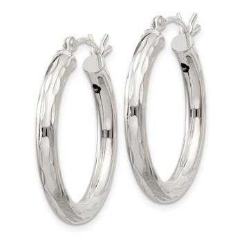 Sterling Silver Diamond-cut Satin 3x25mm Hoop Earrings