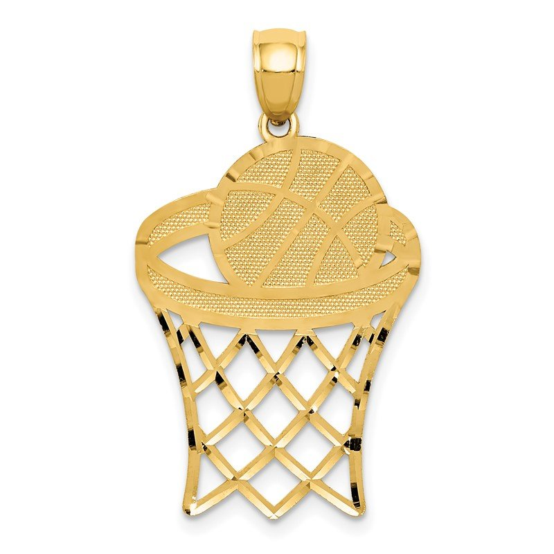 Quality Gold 14k Basketball in Hoop Diamond Cut Pendant
