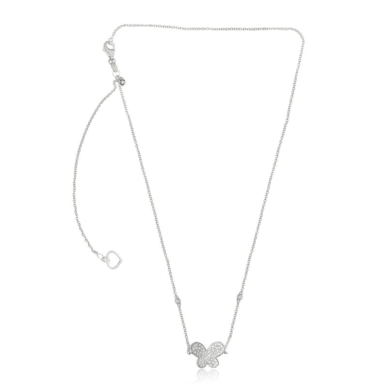 Roman & Jules White Diamond Butterfly Necklace