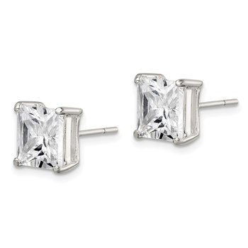 Sterling Silver 8mm Square CZ Basket Set Stud Earrings