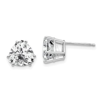 14k White Gold 8mm Trillion Cubic Zirconia Earrings