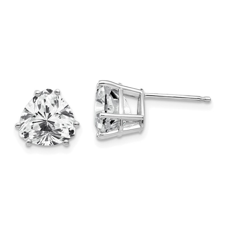 Quality Gold 14k White Gold 8mm Trillion Cubic Zirconia Earrings
