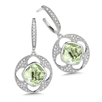 Green Amethyst & Diamond Earrings in 14K White Gold