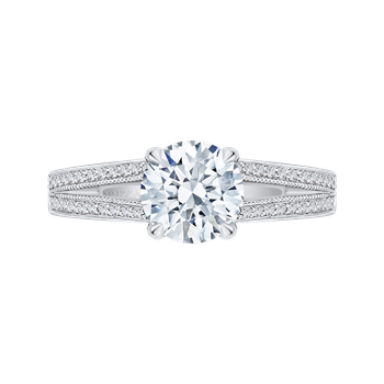 18K White Gold Round Diamond Engagement Ring with Split Shank (Semi-Mount)