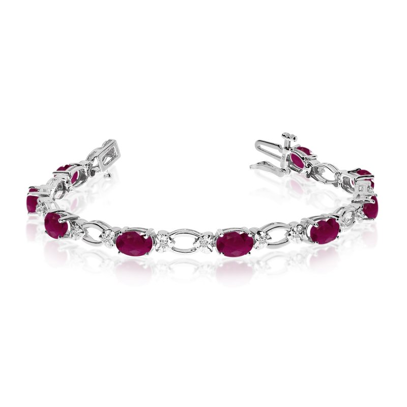 Color Merchants 14k White Gold Natural Ruby And Diamond Tennis Bracelet